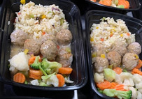 Greek meat balls with greek rice and vegetables.