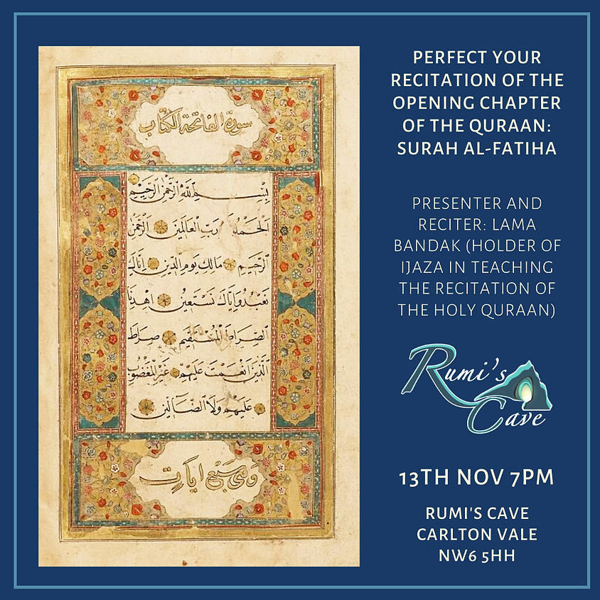 Perfect your recitation of the Opening Chapter of the Quraan