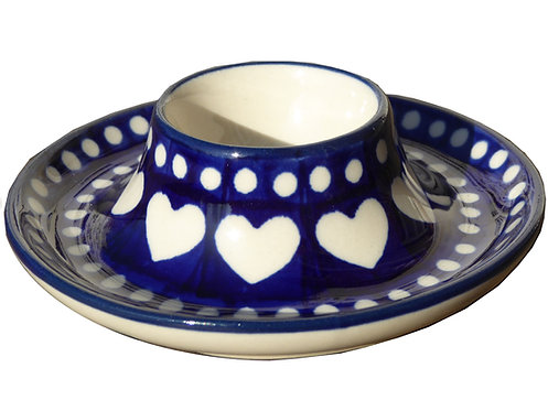 Coquetier plat, Bleu blanc cœurs