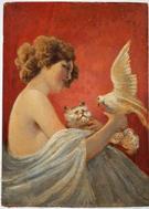 Art nouveau oil painting