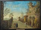 dipinto, quadro, gouache, guache, 1700, venezia, venice, paesaggio, landscape