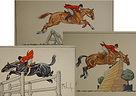 water color, acquarello, horse, horses, cavallo, cavalli, painting, quadro, fox hunt, caccia alla volpe