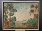 dipinto, quadro, gouache, 1700, porto, ship, paesaggio, landscape