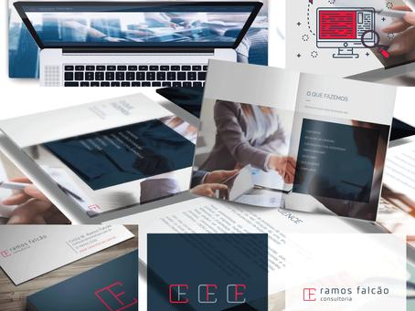 Criação de logo, identidade visual e materiais de comunicação para Ramos Falcão Consultoria