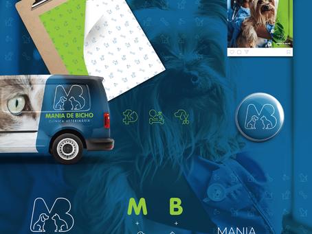Criação de logo e identidade visual para clínica veterinária Mania de Bicho