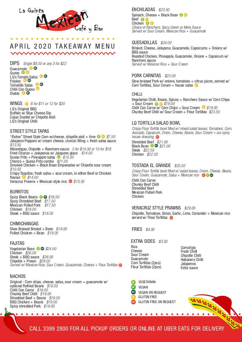 la quinta take away menu