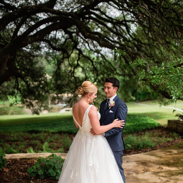 first look austin wedding bride updo