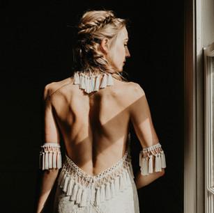Bride with boho braids and fringe
