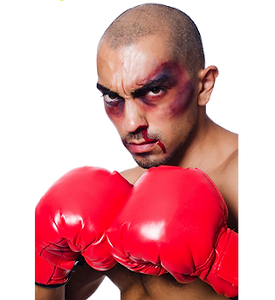 Picture of a beaten and bruised boxer, ready for more action