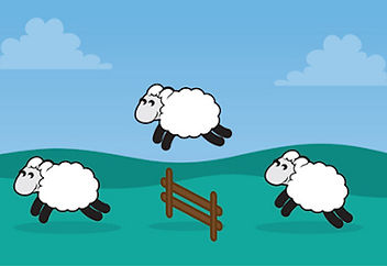 Cartoon image of sheep jumping over a fence
