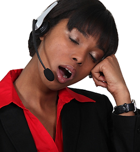 Picture of a call center employee yawning