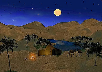 Picture of a desert town and oasis