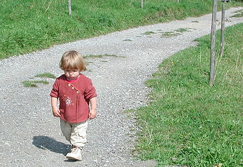 Picture of a young child walking alone down a long path.