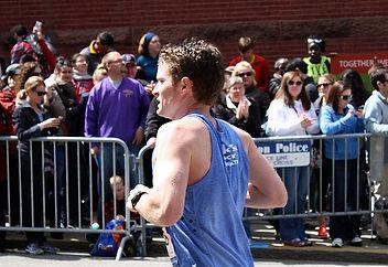 A man running in the Boston Marathon
