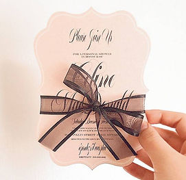 Die Cut Shower Invitation Blush Pink Ribbon