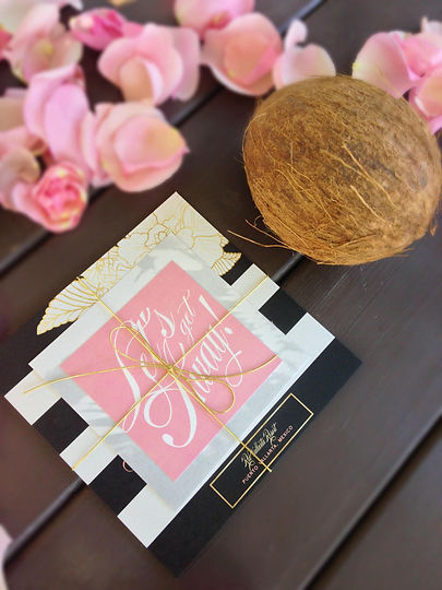 Wedding Invitations Destination Striped Gold Floral