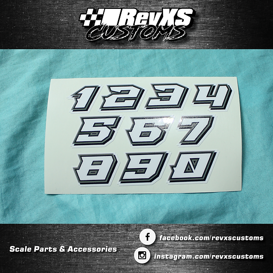1/28th Scale Numbers Grey/White