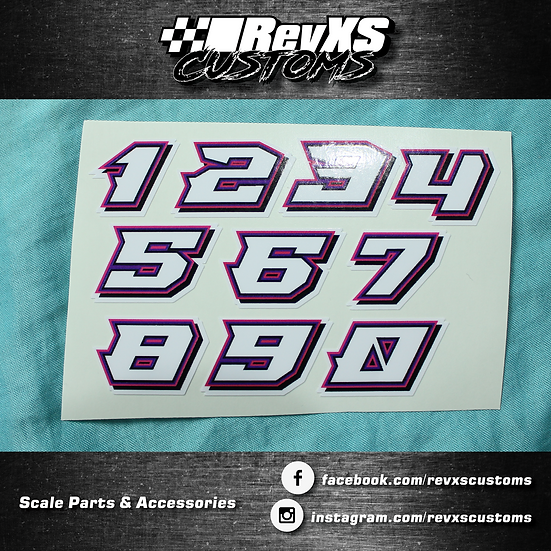 1/28th Scale Numbers Pink/Purple