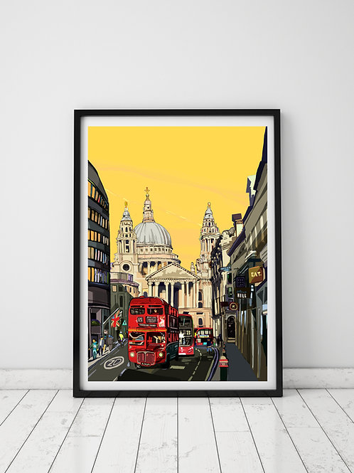 A3 Signed Limited Edition St Paul's Cathedral (Yellow Sky)