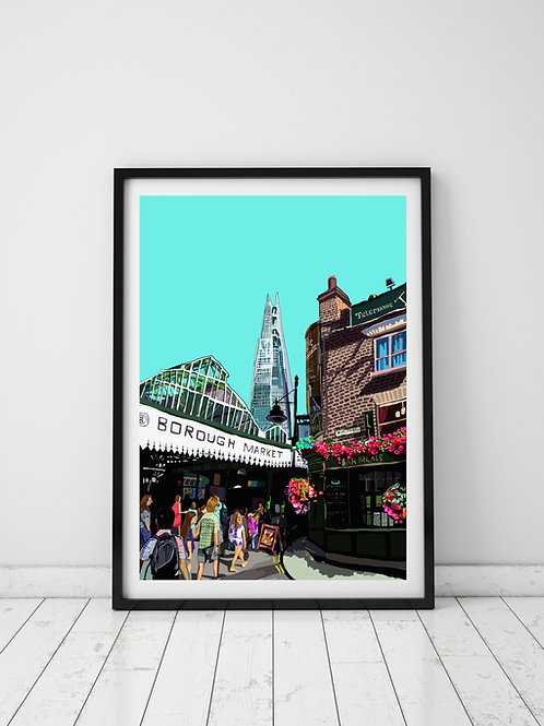 A3 Signed Limited Edition Borough Market (Cyan)