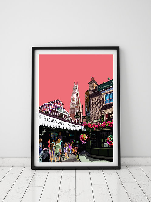 A3 Signed Limited Edition Borough Market (Pink)