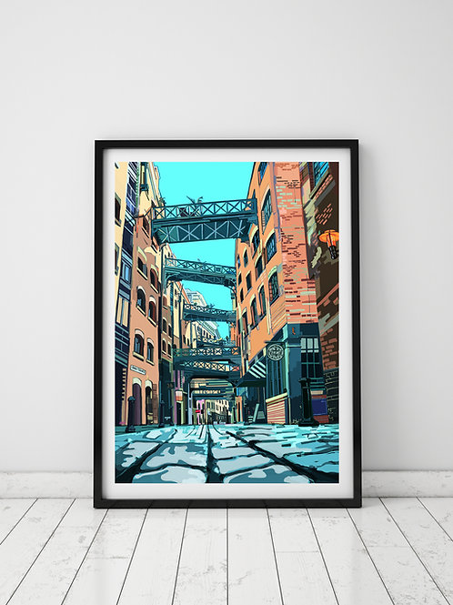 A3 Signed Limited Edition Shad Thames (Cyan Sky)