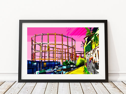 A3 Signed Limited Edition Pink Gasworks, East London