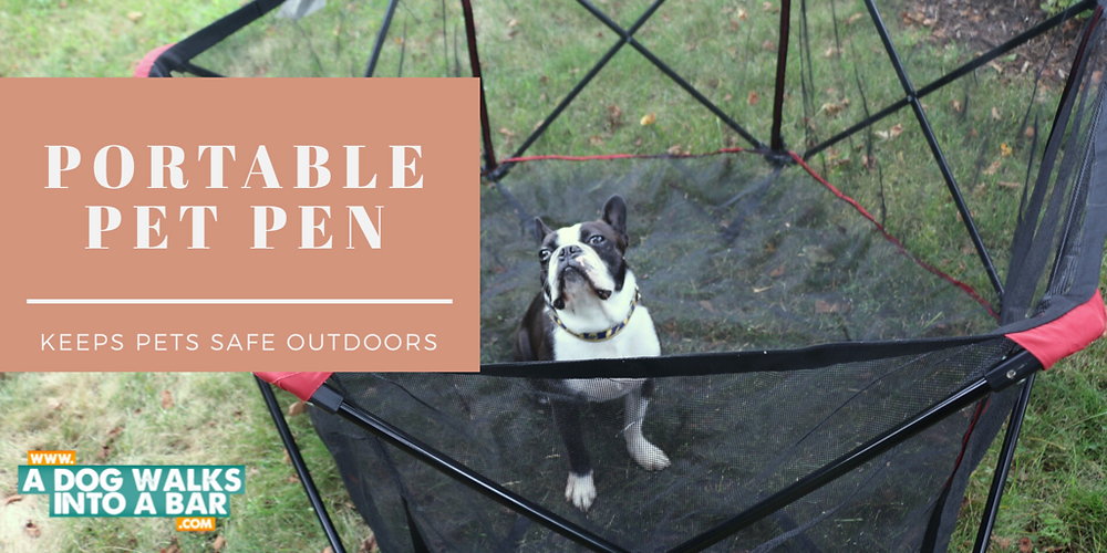 yard work with a dog is easier with the portable pet pen by carlson pet products