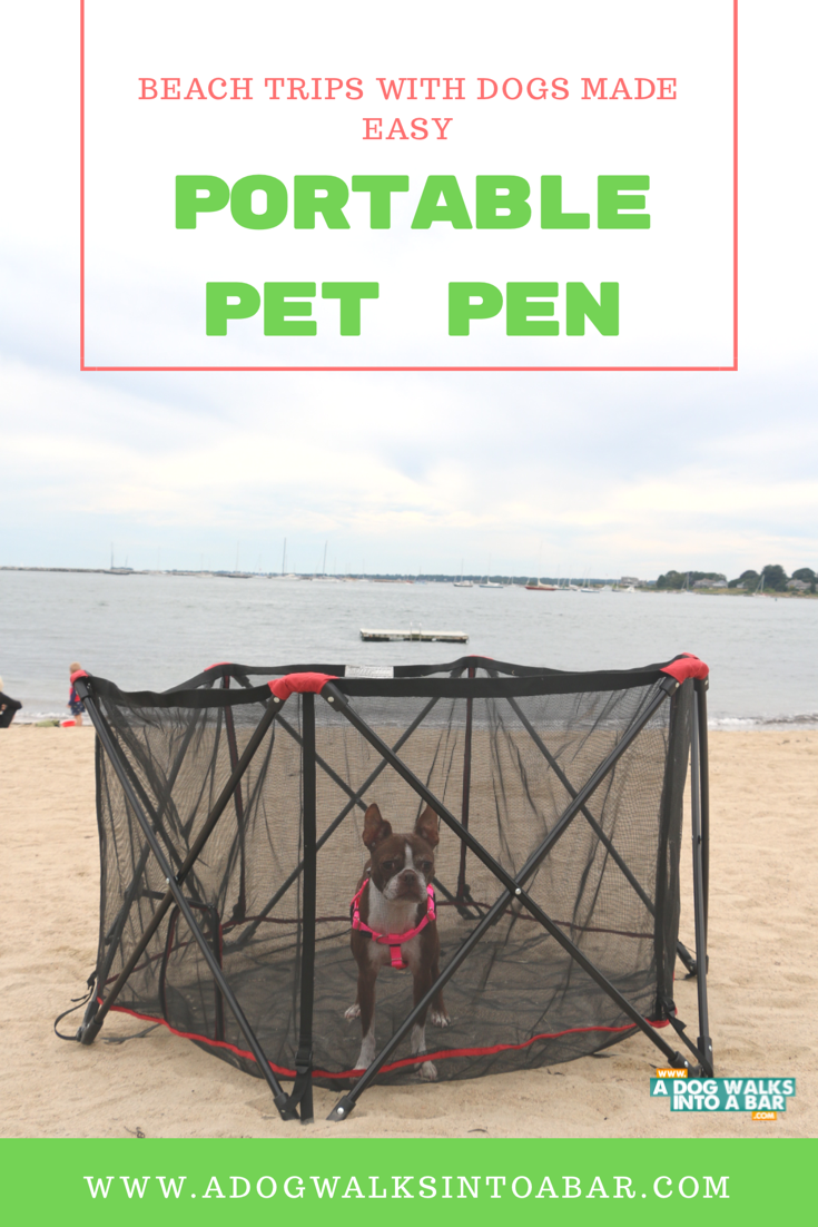 beach travel with dogs is easier with the portable pet pen from carlson pet products