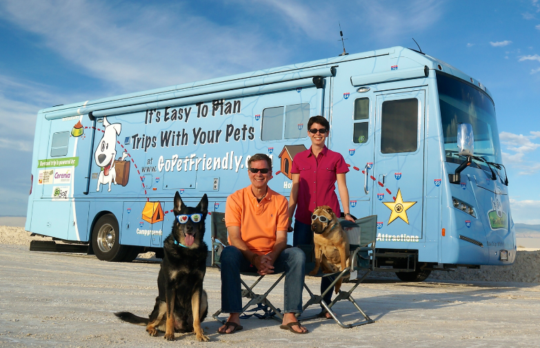 Amy Burkert from Go Pet Friendly with her dogs and husband