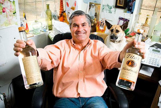 Tito from Tito's Vodka and Stella the rescue dog