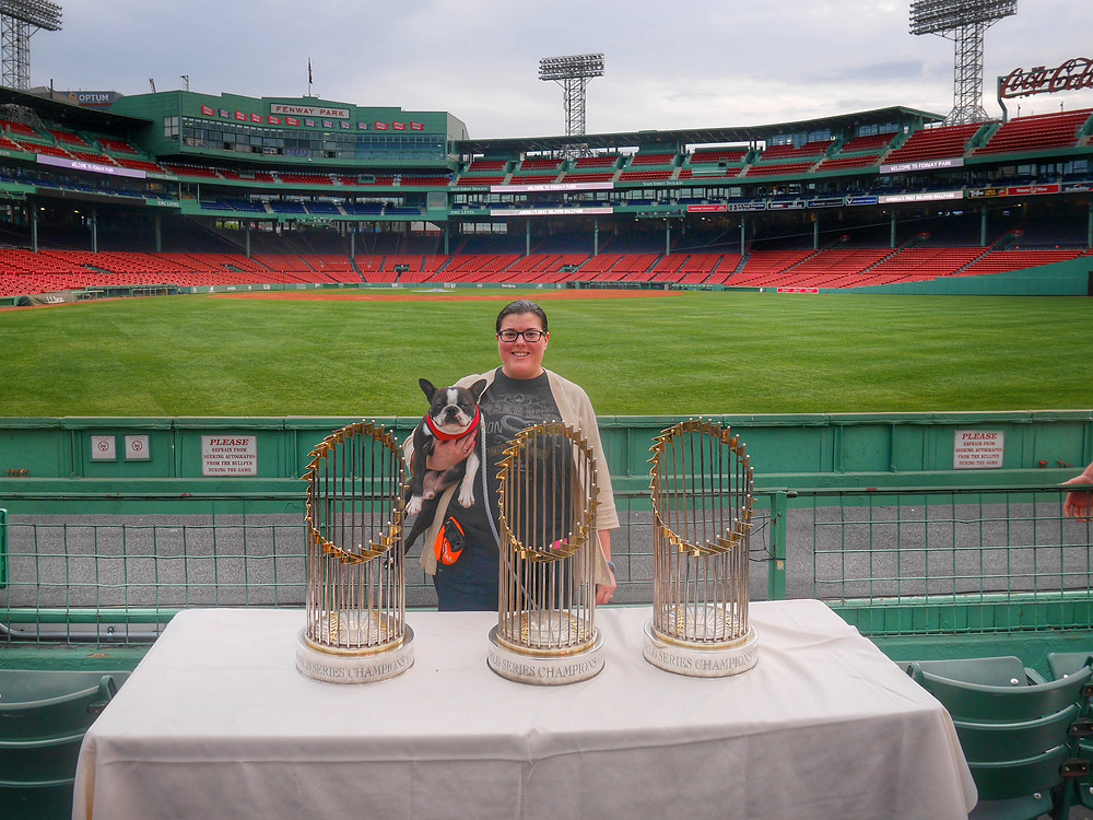 Bryn, Yoda and the World Series Trophies at Fenway Park
