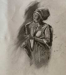 The Saxophone _ Charcoal _ Paper _ 35 x 23 _ Available _ £55