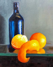 Blue Bottle _ still life _ oil _ Panel _ 35 x 25 _ Available _ £150