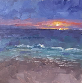 Fistral Beach Sunset _ Oil _ Panel _ 20 x 20 _ SOLD