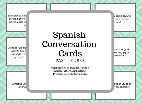 SPANISH CONVERSATION CARDS. PAST TENSES.