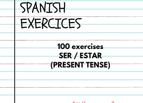 100 EJERCICIOS SER Y ESTAR (PRESENTE)