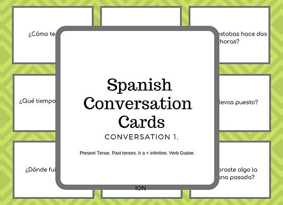 SPANISH CONVERSATION CARDS.CONVERSACION 1.