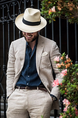 Panama hat with a suit