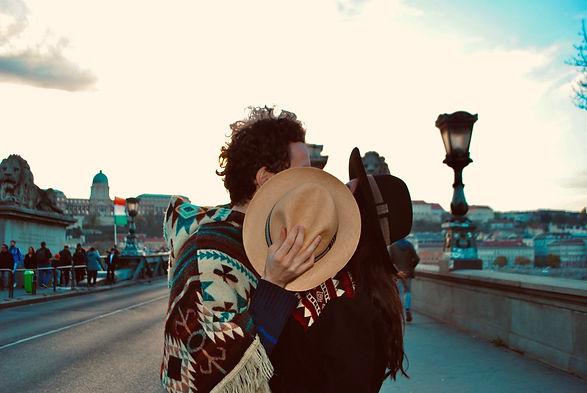 Panama hat in the chain bridge of Budapest