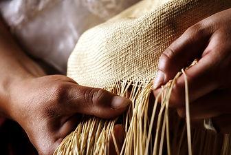 Toquilla straw hat weaving process
