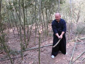 trénink v Japonsku tameshigiri