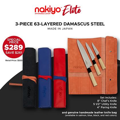 Nakiyo 3-piece Kitchen Knife Set  with Genuine Handmade Leather Bag