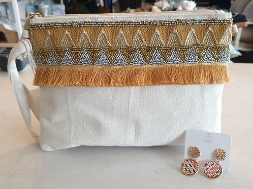 Gold fringed large clutch