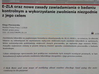 E-ZLA oraz nowe zasady kontaktu ZUS-u z chorym
