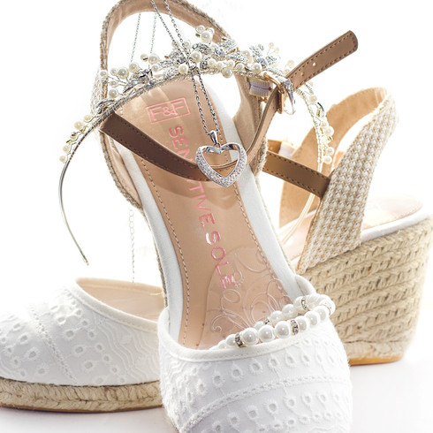 White and silver crystal Bridal shoes and accessories | Panda Creative