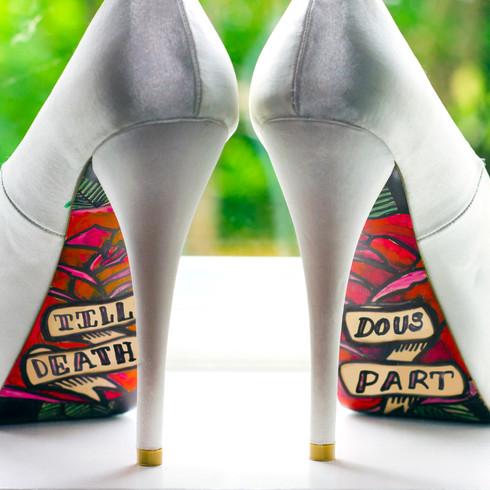 Silver wedding heels with custom 'till death do us part' sole | Panda Creative