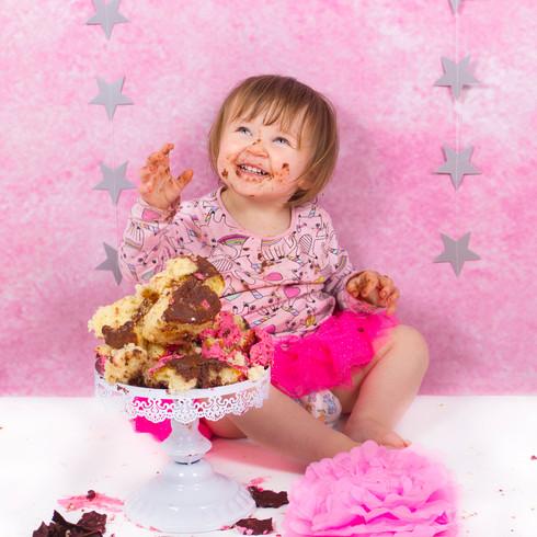 Giant pink cupcake cake smash 2nd birthday | Panda Creative