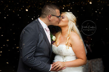 Bride and Groom first kiss photo