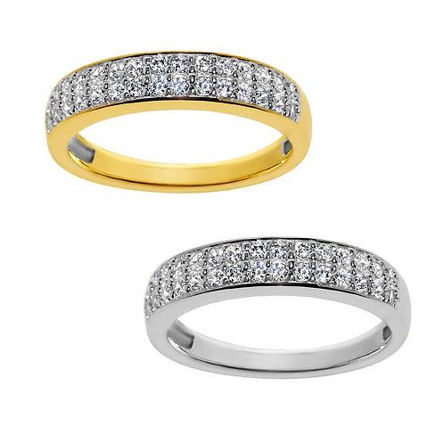 14k Yellow or White Gold 1/2ct TGW Round-cut Diamonette 2-Row Wedding Band